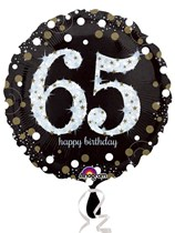 buy 65th Black and Gold Sparkles Foil Balloon