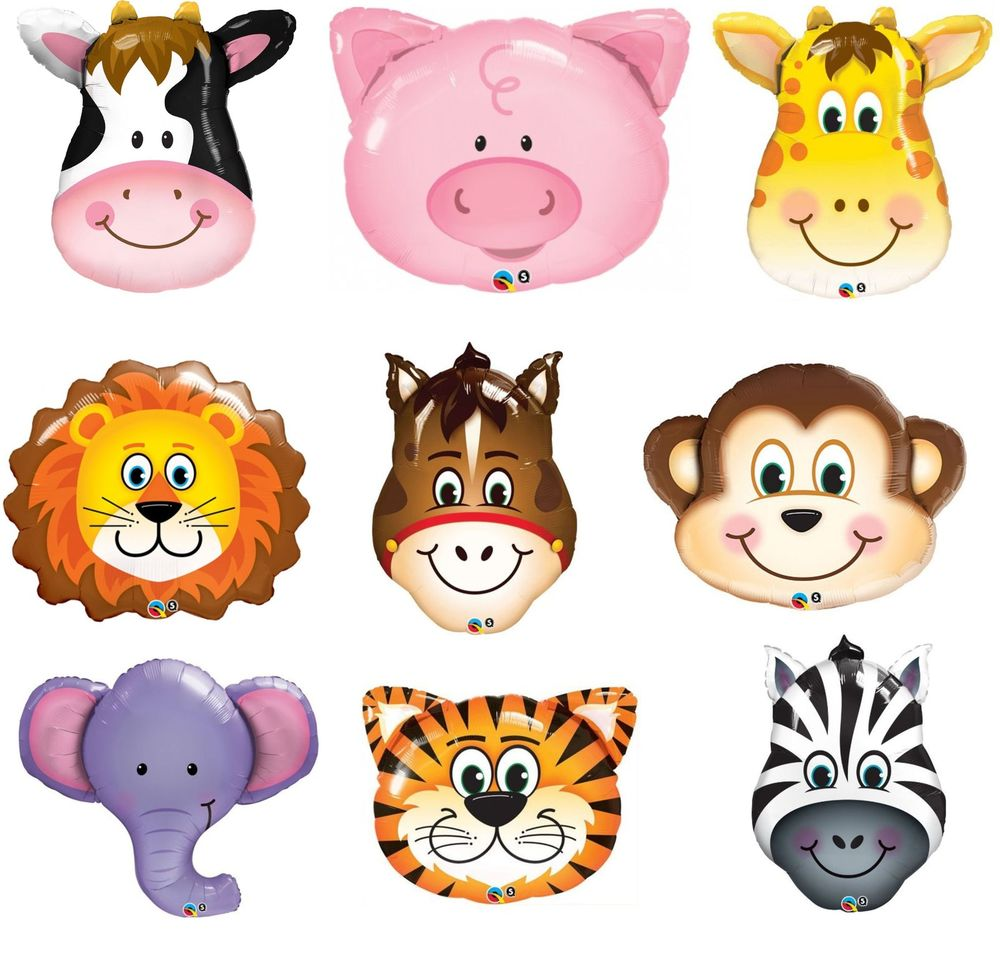 9 animal party supershape foil balloons inflated buy helium