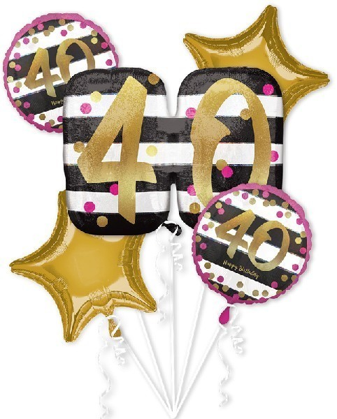 Pink Gold 40th Birthday Foil Balloon Bouquet