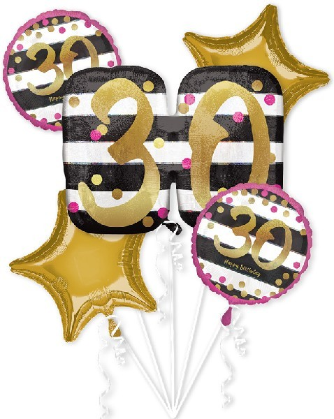 Pink Gold 30th Birthday Foil Balloon Bouquet