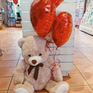 Huge Teddy Bear with 3 Heart Balloons