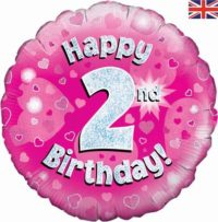 buy Happy 2nd Birthday Pink Holographic